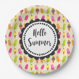 こんにちは夏のタイポグラフィのアイスキャンデーおよびアイスクリーム ペーパープレート