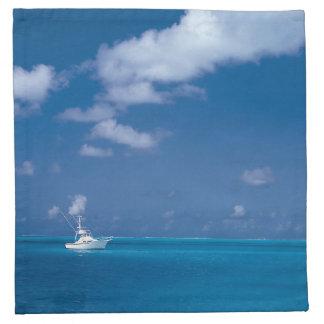 こんにちは夏のボートの青くカリブのな地平線の海 ナプキンクロス