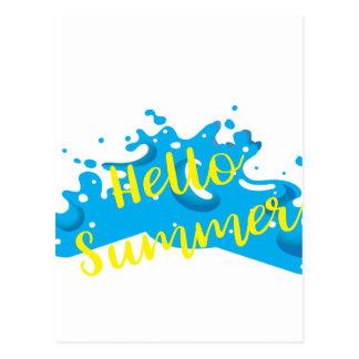 こんにちは夏、波のグラフィック、クールな白 ポストカード