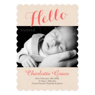 こんにちは新生児の写真テンプレート 12.7 X 17.8 インビテーションカード