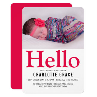 こんにちは新生児の明るいピンクの名前入り カード