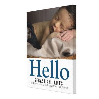 こんにちは新生児の男の子の名前入りな記念品 キャンバスプリント
