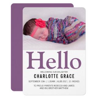 こんにちは新生児の紫色の名前入り カード