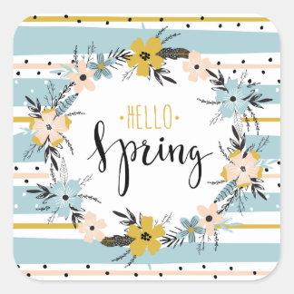 こんにちは春。 春の花のイースターギフトのステッカー スクエアシール