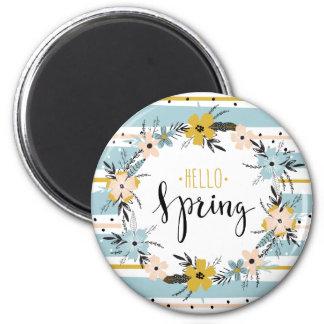 こんにちは春。 春の花のイースターギフトの磁石 マグネット