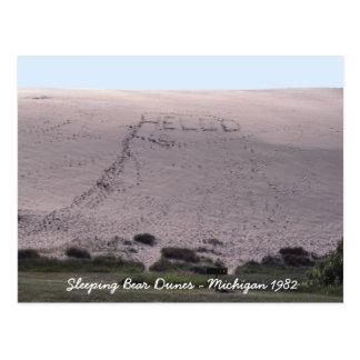 こんにちは睡眠くま砂丘ミシガン州から ポストカード