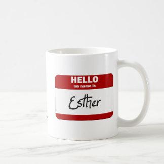 こんにちは私の名前はエスターはです(赤い) コーヒーマグカップ