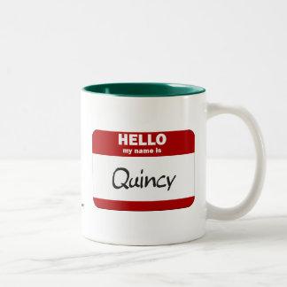 こんにちは私の名前はクインシーはです(赤い) ツートーンマグカップ