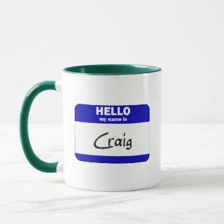 こんにちは私の名前はクレイグはです(青い) マグカップ