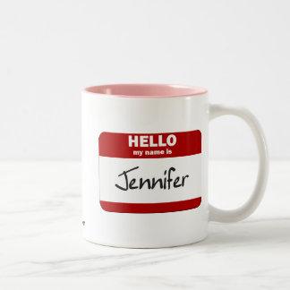 こんにちは私の名前はジェニファーはです(赤い) ツートーンマグカップ