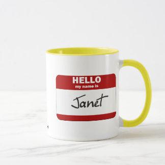 こんにちは私の名前はジャネットはです(赤い) マグカップ
