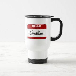 こんにちは私の名前はジョナサンはです(赤い) トラベルマグ