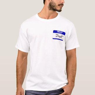 こんにちは私の名前はドゥワイトはです(青い) Tシャツ