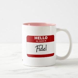 こんにちは私の名前はフィデルはです(赤い) ツートーンマグカップ