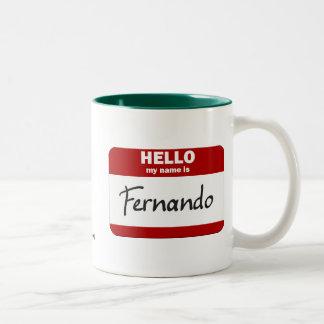 こんにちは私の名前はフェルナンドはです(赤い) ツートーンマグカップ