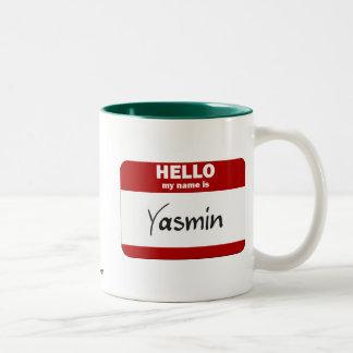 こんにちは私の名前はヤズミンはです(赤い) ツートーンマグカップ