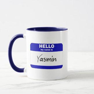 こんにちは私の名前はヤズミンはです(青い) マグカップ