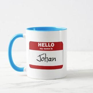こんにちは私の名前はヨハンはです(赤い) マグカップ