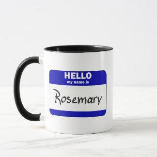 こんにちは私の名前はローズマリーはです(青い) マグカップ