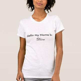 こんにちは私の名前は次のとおりです: 、花型女性歌手 Tシャツ