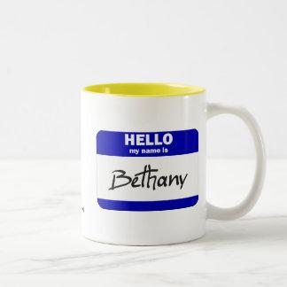 こんにちは私の名前はBethanyはです(青い) ツートーンマグカップ