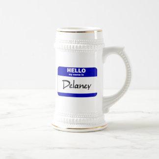 こんにちは私の名前はDelaneyはです(青い) ビールジョッキ
