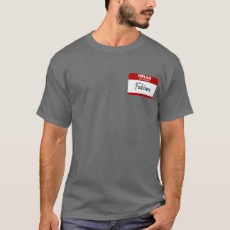 こんにちは私の名前はFabianです(赤い) Tシャツ
