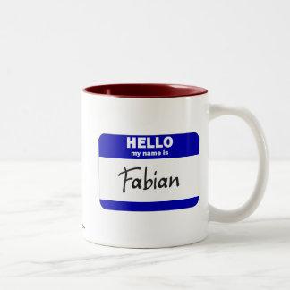 こんにちは私の名前はFabianです(青い) ツートーンマグカップ