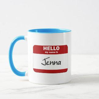 こんにちは私の名前はJennaはです(赤い) マグカップ