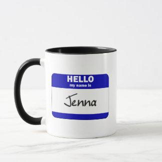 こんにちは私の名前はJennaはです(青い) マグカップ
