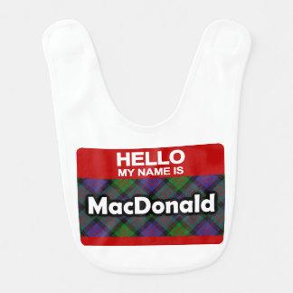 こんにちは私の名前はMacDonaldのスコットランドの一族のタータンチェックです ベビービブ