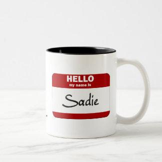 こんにちは私の名前はSadieはです(赤い) ツートーンマグカップ