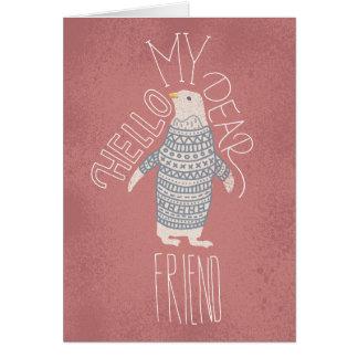 こんにちは私の親愛な友人のペンギンの郵便はがき カード