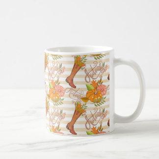 こんにちは秋パターン コーヒーマグカップ