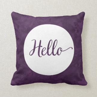 こんにちは紫色の水彩画の白いリバーシブル クッション