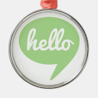こんにちは緑のスピーチの泡と文字デザイン メタルオーナメント