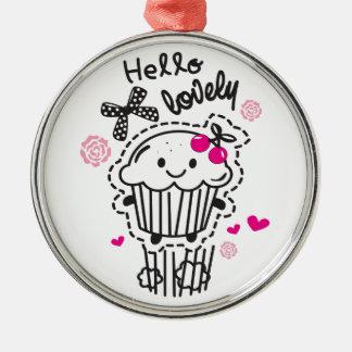 こんにちは美しいカップケーキArt. メタルオーナメント