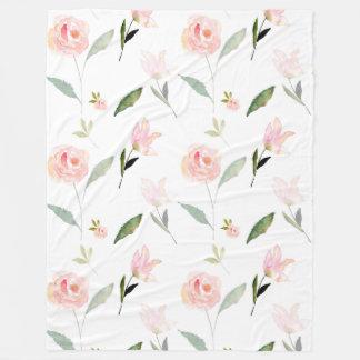 こんにちは美しい水彩画の花のピンクの庭の上品 フリースブランケット