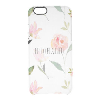こんにちは美しい水彩画の花柄 クリアiPhone 6/6Sケース
