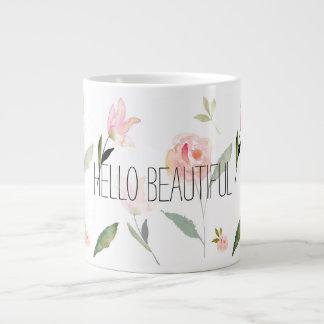 こんにちは美しい水彩画の花柄 ジャンボコーヒーマグカップ