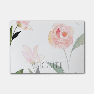 こんにちは美しい水彩画の花柄 ポストイット