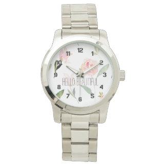 こんにちは美しい水彩画の花柄 腕時計
