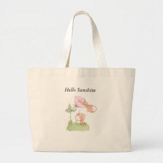 こんにちは花が付いている日光のネズミ ラージトートバッグ