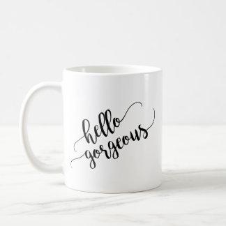 こんにちは豪華なタイポグラフィ コーヒーマグカップ