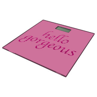 こんにちは豪華なピンクのグリッターのおもしろいなタイポグラフィの引用文 体重計