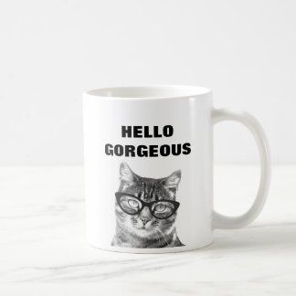 こんにちは豪華な白黒11oz猫のマグ コーヒーマグカップ