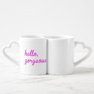 こんにちは豪華、こんにちはハンサムな対のマグ! ペアカップ