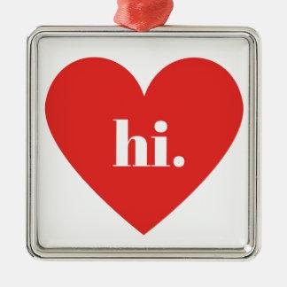 こんにちは赤いハートの絵のバレンタインのコレクション メタルオーナメント