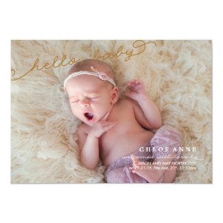 こんにちは赤ん坊の誕生の発表の//の金ゴールドおよび薄紫 12.7 X 17.8 インビテーションカード