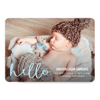 こんにちは青いモダンな誕生の発表 カード